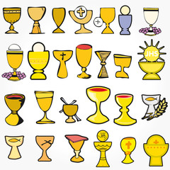 Set Illustration communion traditional Christian symbols chalice