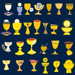 Set Illustration communion traditional Christian symbols chalice