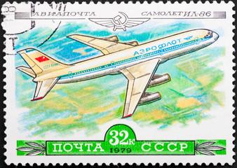 Postal stamp. Aircraft IL-86