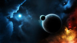 Planet system blue star in deep space