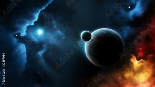 system-planetarny-niebieska-gwiazda-w-glebokiej-przestrzeni