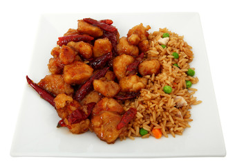 Orange Chicken And Rice In Plate
