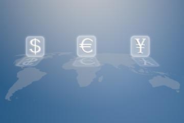 money sign on world map