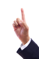 business man hand pointing finger isolated