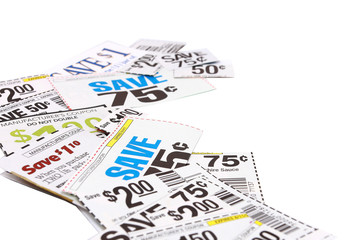Assorted Grocery Coupons On White Background