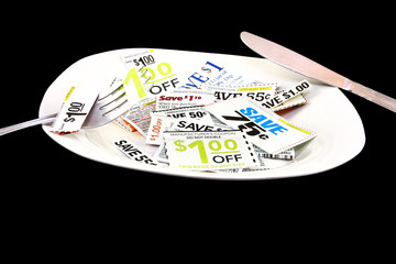 Grocery Coupons On A Plate With Fork And Knife Budgeting Concept
