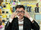 Genius nerd electronic engineer tech man thinking poster