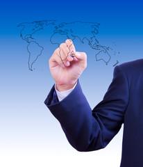 business man drawing  world map