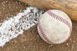 A baseball and a bat