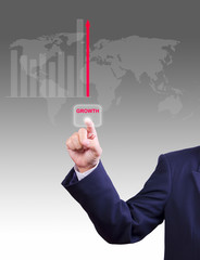 business man hand pushing growth button for business growth grap
