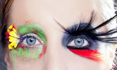 asymmetrical fantasy eyes makeup spring black bird