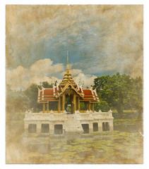 thai style pavillion picture on old vintage paper