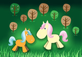 Fairytale pony in forest poster