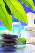 Steine im Wasser mit Massage Öl im Hintergrund, hoch