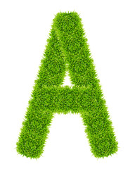 green grass letter A isolated