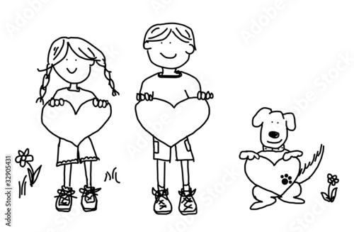 Boy, girl, and dog cartoon holding heart shape sign