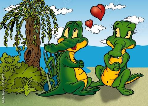 Two Crocodilie - Cartoon Background Illustration