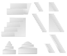 set of white vector staircase isolated on white background