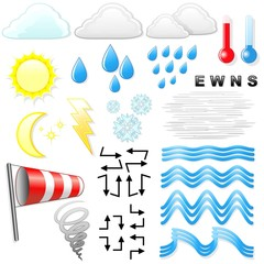 Meteo Tempo Simboli Icone-Weather Meteorology Symbols and Icons