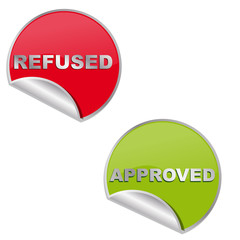 étiquettes, refused/approved