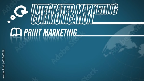 Integrated Marketing Communication video illustration on blue