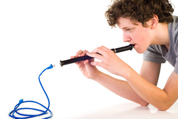 Boy with fife and network cable