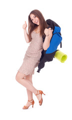 young long hair woman with backpack and carrimat