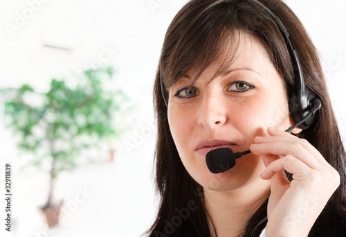 Girl using a headset