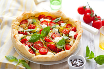 quiche with tomato and zucchini