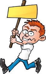 Cartoon man with blank protest board