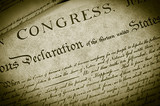 Replica of the U.S. Declaration of Independence, closeup poster