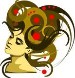 Fototapety ilustracja kobiety z fantazyjną rozwianą fryzurą