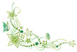 Ranke, flora, Blumen, Blüten, filigran, Aquarell Grün