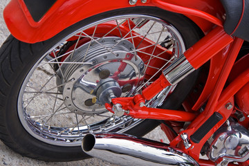 Red motorcycle detail