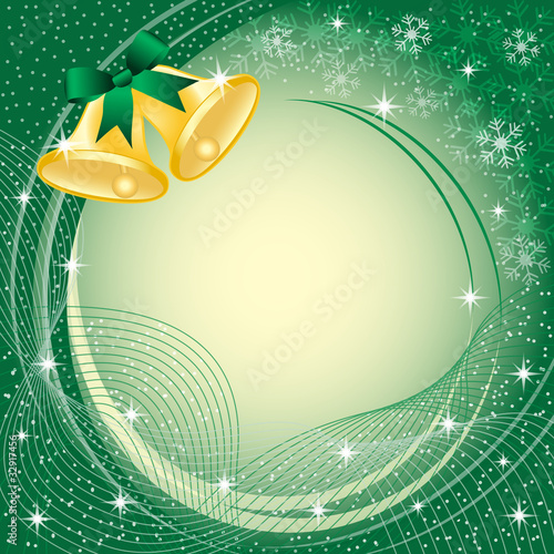 Gold christmas bells on green