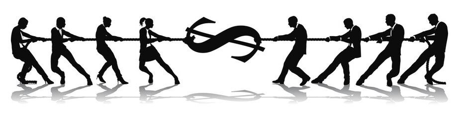 Fighting for wage equality tug of war concept