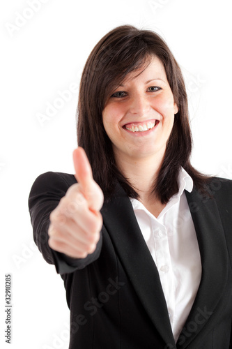 Businesswoman showing ok gesture