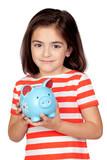 Brunette little girl with a blue moneybox poster