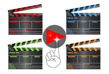 Claqueta de cine con el símbolo de play
