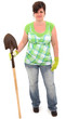 Forty-Five Year Old Woman with Shovel and Garden Gloves