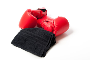 Red boxing gloves and towel