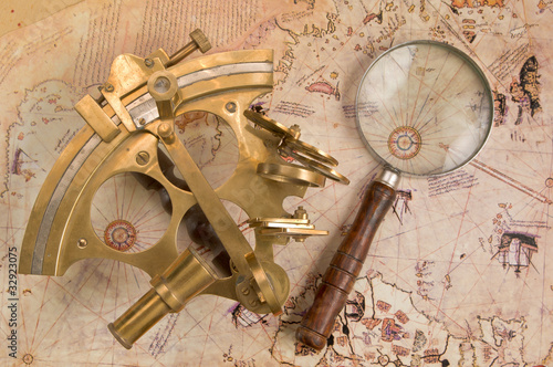Sextant on old map