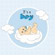 Bebe niño encima de una nube