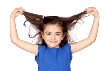 Little girl grabbing her hair