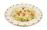 Pasta with vegetables in southwestern style bowl poster