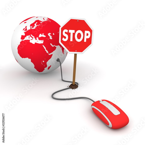 Surfing the Web in Red - Blocked by a Stop sign