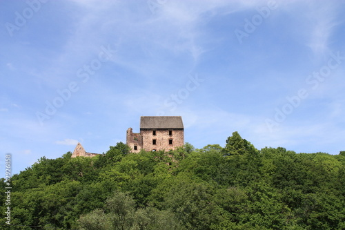 Swiny Castle in Poland. View from the neighboring hills.