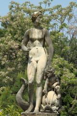 antique sculpture in italian garden