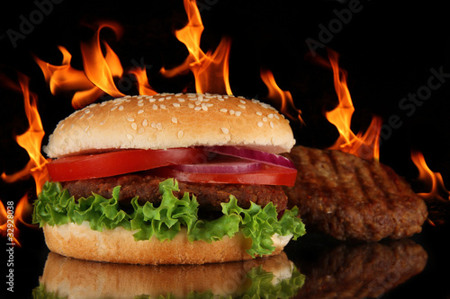 Tasty spicy hamburger