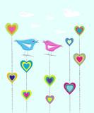 nostalgic love design, flirting birds poster